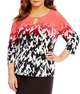 Calvin Klein Plus Matte Jersey Printed 3/4 Sleeve Top