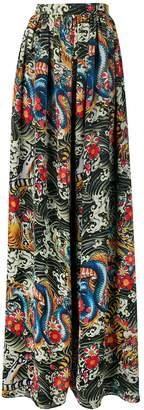 Richard Quinn dragon print palazzo trousers