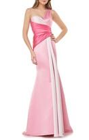 Carmen Marc Valvo One-Shoulder Satin Mermaid Gown