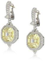 "Judith Ripka Estate"" Ascher-Cut Stone Canary Drop Earrings"