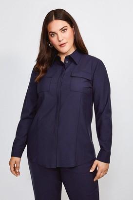 Karen Millen Curve Polished Stretch Wool Blend Shirt