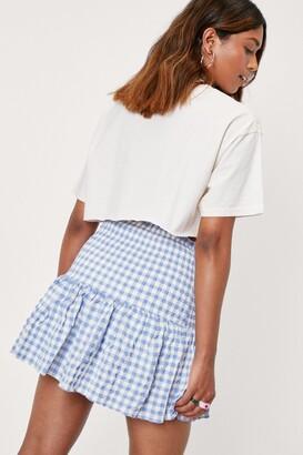 Nasty Gal Womens Shirred Gingham Print Mini Skirt - Blue - L