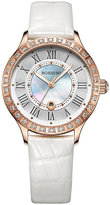 Silvia Rossini Ladies' Stone Set White Leather Strap Watch
