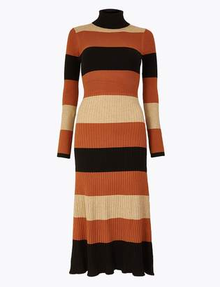 Marks and Spencer Striped Ribbed Fit & Flare Knitted Dress
