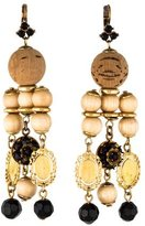 Dolce & Gabbana Madonna Wood Bead Drop Earrings
