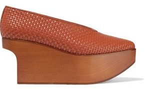 Stella McCartney Woven Faux Leather Platform Wedge Pumps