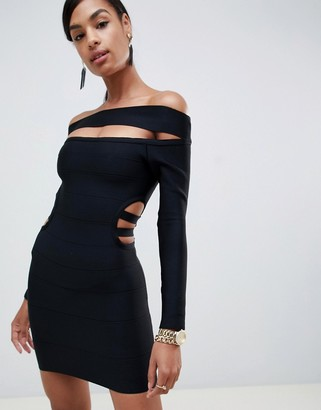 Bardot ASOS DESIGN off shoulder mini bandage dress with cut out