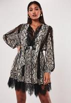 Missguided Gray Snake Print Chiffon Lace Trim Mini Dress