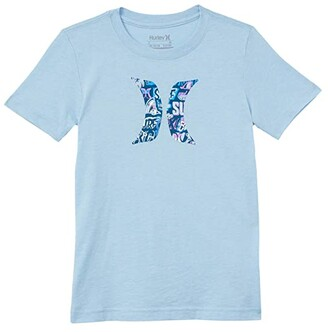 Hurley Icon Graphic T-Shirt (Big Kids) (Chambray Blue Heather) Boy's Clothing