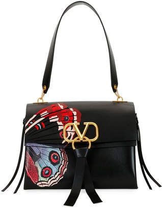 Valentino Garavani VRING U Butterfly Leather Shoulder Bag