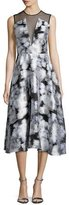 Lela Rose Sleeveless Ikat Midi Dress, Ivory/Multi