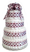 Rubber Ducky Ladybug Red and White - Baby Shower Diaper Cake/Centerpiece (4 Tier)