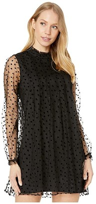 BCBGeneration Sheer Hearts Shift Dress TPY6256722 (Black) Women's Clothing