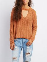Charlotte Russe Chenill Cut-Out Sweater