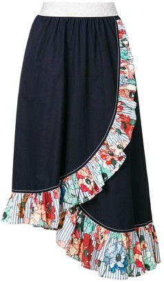 I'M Isola Marras Ruffled Trim Asymmetric Skirt