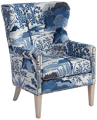 Barclay Butera Avery Wingback Chair - Blue/White Linen