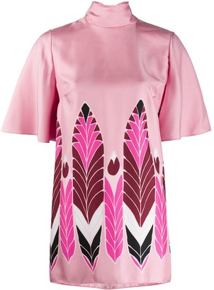 Valentino Short-Sleeved Printed Blouse