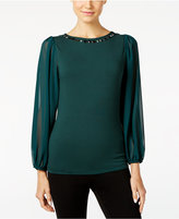 Vince Camuto Bishop-Sleeve Embellished Top, A Macy's Exclusive Style