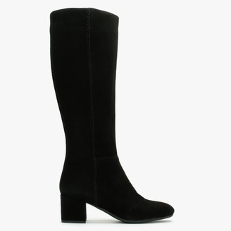 Lamica Black Suede Low Block Heel Knee Boots