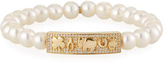 Sydney Evan 14k Diamond & Pearl Luck Tableau Bracelet