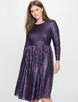 ELOQUII Studio Sequin Fit and Flare Dress