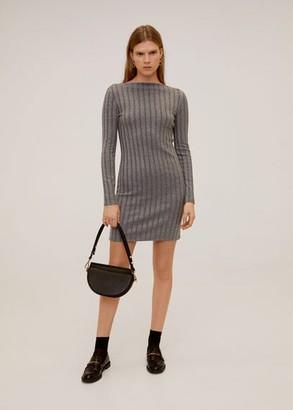 MANGO Tailored ribbed dress medium heather grey - 4 - Women