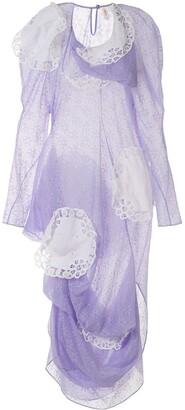 yuhan wang Doily Applique Floral Print Dress