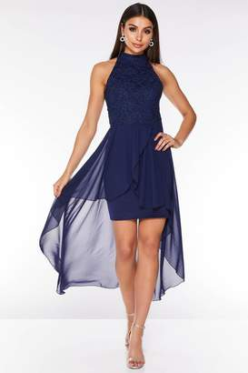 Quiz Navy Glitter Lace High Neck Dip Hem Dress