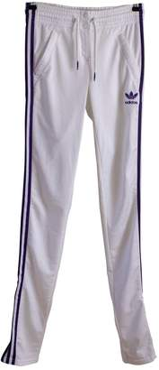 adidas White Polyester Trousers