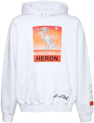 Heron Preston Heron Print Cotton Jersey Hoodie
