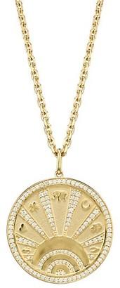 Sydney Evan 14K Yellow Gold Diamond Evil Eye Lucky Motif Coin Necklace