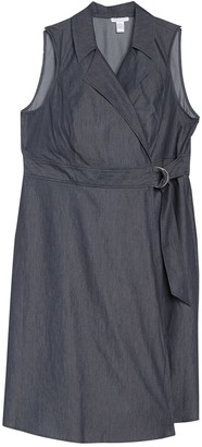 London Times Notch Collar Sleeveless Denim Wrap Dress (Plus Size)