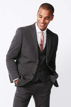 Next Mens Charcoal Regular Fit Three Button Suit: Jacket - Grey