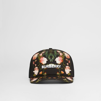 Burberry Rose Print Cotton and Mesh Baseball Cap