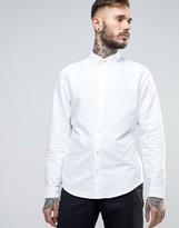 Original Penguin Slim Oxford Shirt Buttondown Tonal Logo In White