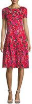 St. John Indian Rose Blister Jacquard Cocktail Dress