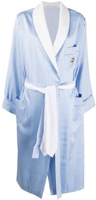 Ermanno Scervino Striped Belted Coat