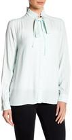 Ro & De Long Sleeve Ruffle Collar Tie Blouse
