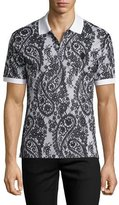 Alexander McQueen Paisley-Print Short-Sleeve Polo Shirt, Gray/Black