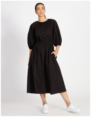 Basque Puff Sleeve Cotton Dress