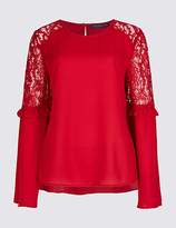 M&S Collection Lace Insert Ruffle Sleeve Blouse