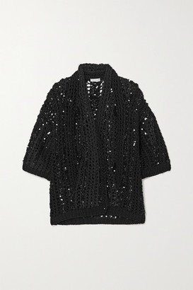 Brunello Cucinelli Opera Sequin-embellished Open-knit Cotton Cardigan - Black