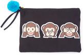 FANTASIA Black No Evil Monkeys Pom Pom Clutch