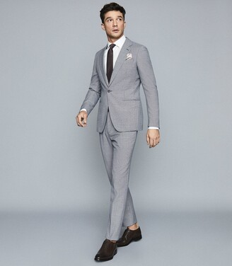 Reiss Hustle - Check Wool-blend Trousers in Blue