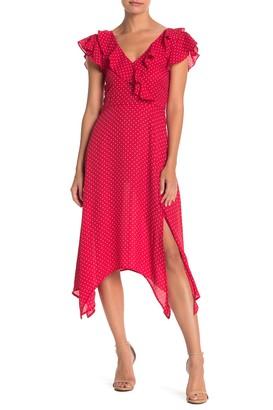 Kenedik Polka Dot Handkerchief Hem Midi Dress
