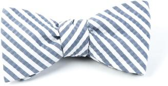 Tie Bar Silk Seersucker Stripe Midnight Navy Bow Tie