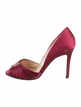 Christian Louboutin Satin Peep-Toe Pumps