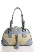 Prada Beige Blue Canvas Gold Tone Double Strap Bowling Satchel Handbag