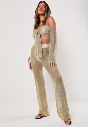 Missguided Petite Gold Co Ord Wide Leg Pants