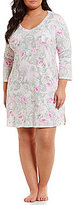 Miss Elaine Plus Floral Paisley Cottonessa Nightgown